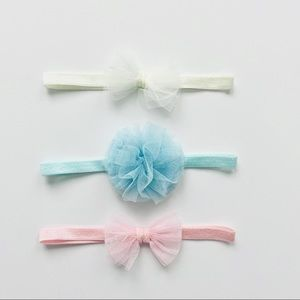 3 Piece Pastel Tulle Headbands